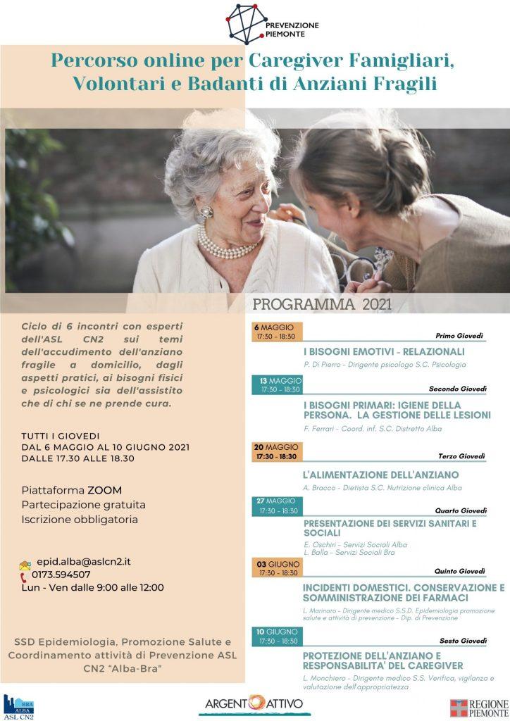 Corso formativo online per caregiver – Argento Attivo